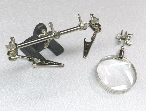 Helping Hand Magnifier 4X with 2 Alligator Clamps Soldering Kit