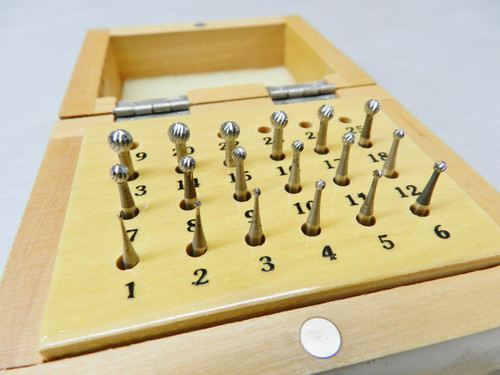 High Speed Round Bur Set HSS 18 Pieces #'s 1-18 Sizes (0.9 - 4.5mm) Boxed