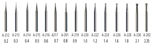 AK212 Miniature Carbides Ball Shape Burs 15 PCS