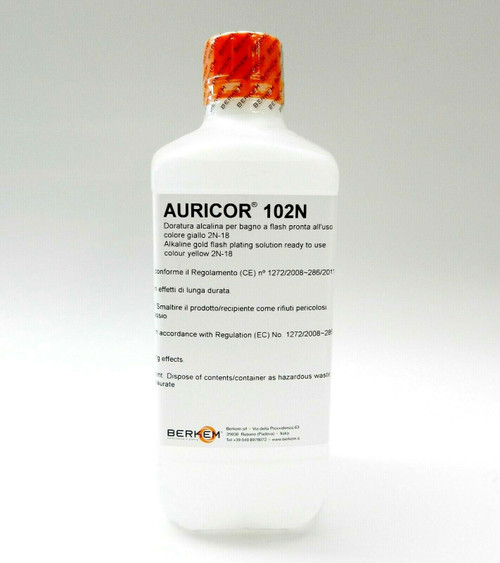 18K Yellow Gold Plating Solution AURICOR 102N 18 Karat Electroplating