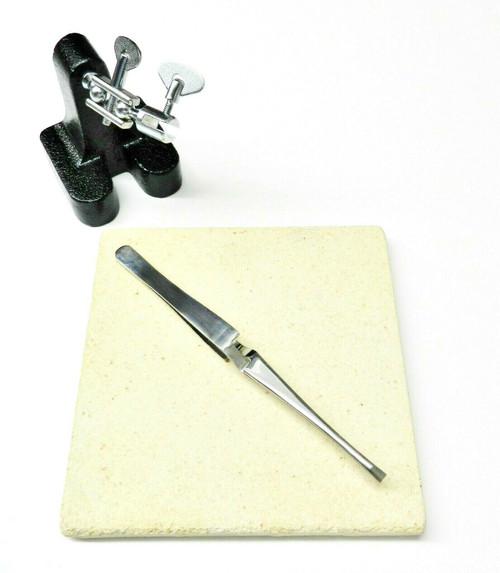 Jewelry Soldering Kit 3 Pc -Ceramic Board Horseshoe Third Hand & Locking Tweezer