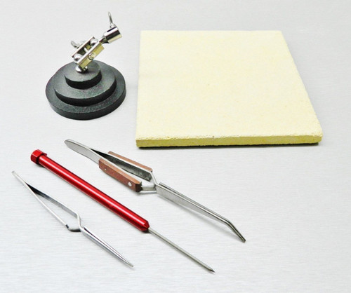 Jewelry Crafts Soldering Tools Kit Ceramic Solder Board Third Hand Pick Tweezers