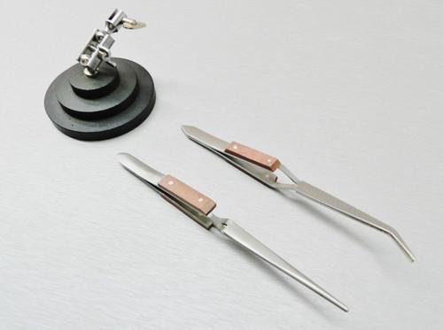 3rd Hand Jewelry Soldering Stand & 2 Fiber Grip Tweezers Locking Helping Hand