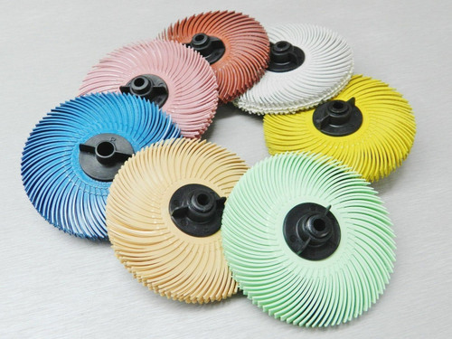 "3M Radial Bristle Discs  Pink Pumice Grade Brush 3"""