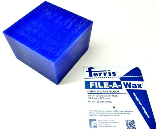 Carving Wax Ferris Blue File-A-Wax Bar DSB-5 1 Pound Square Block