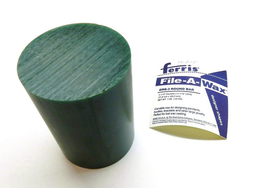 "Carving Wax Round Bar Ferris Green Hard 3-1/16"" Diameter"