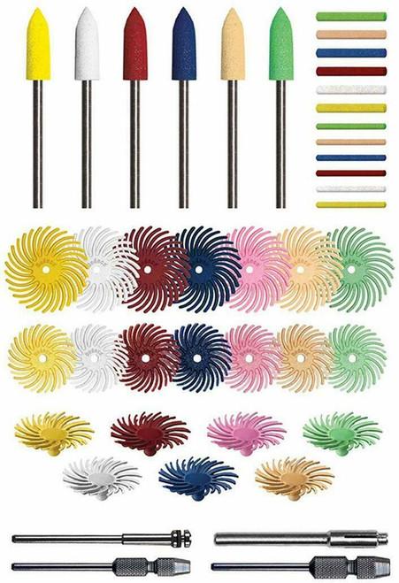 Deluxe Radial Bristle Disc Sunburst Assortment Polishing Pin & Point Kits 116PCS