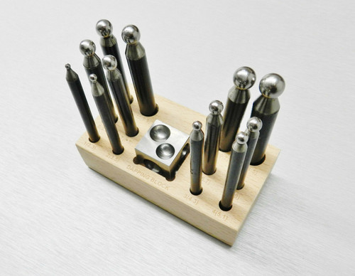 """14 Piece Steel Dapping Punches and Block Set 1"""" Cube & 12 Punches on Wooden Base"""