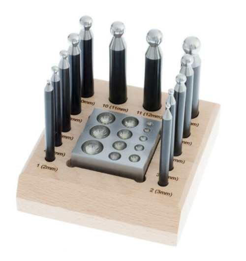 14pc Dapping Set Block & Punches Jewelry Making Tool