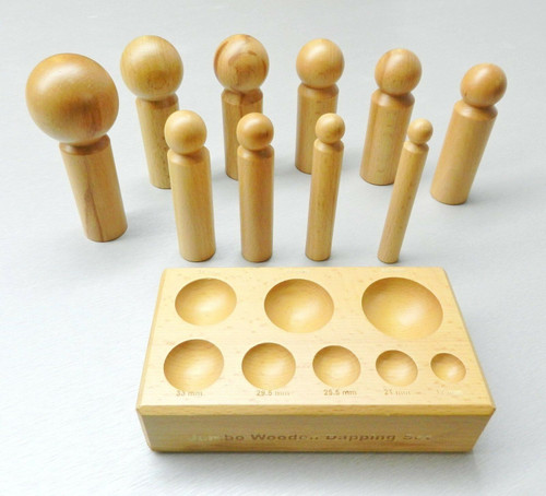 Dapping Block & Punches Large Wooden Set 10 Sizes Wood Forming Jewelry Making