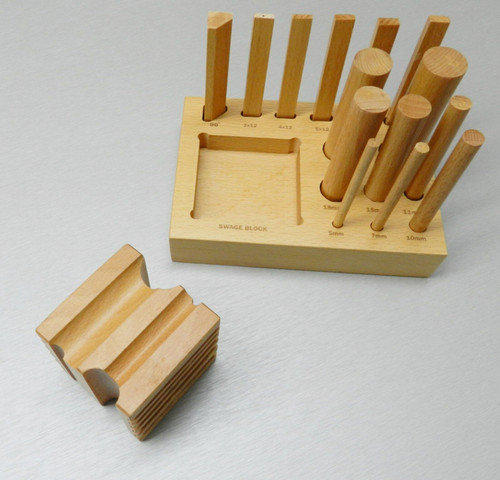 Wooden Block Set Dapping Swage Wood Forming Design Cube & Punches Form & Shape
