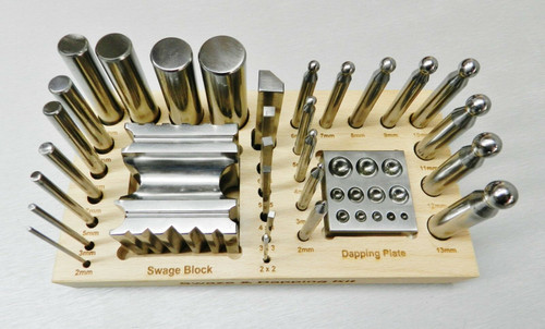 30 Piece Dapping Punch and Swage Block Forming Block Set of Tools Jewelry Making
