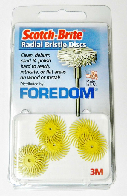 """Foredom Radial Bristle Discs 80 Grit Yellow 3/4"""" - 3M Radial Brushes"""