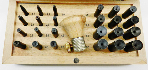 Bezel Setting Punch Set in Wood Box with 24 Punches 1.1mm to 10.00mm