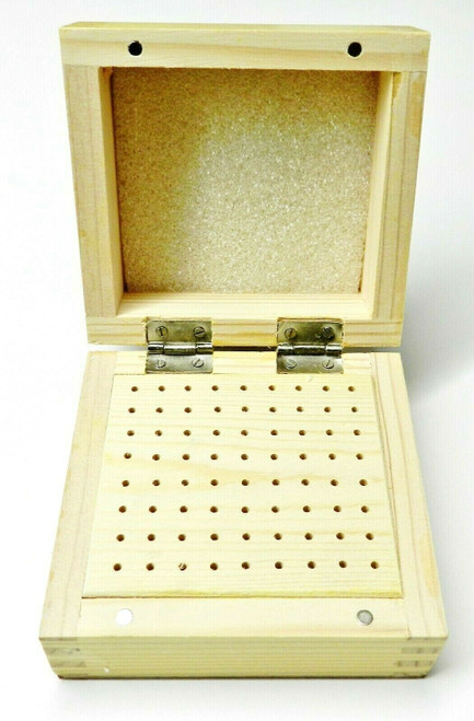 "72 Hole Bur Organizer Box DELUXE Holds Jewelry Burs Rotary Cutters 3/32"" Shank"