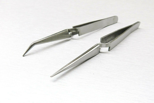 "Cross Locking Tweezers Bent & Straight Reverse Action Stainless Steel 4-3/4"""