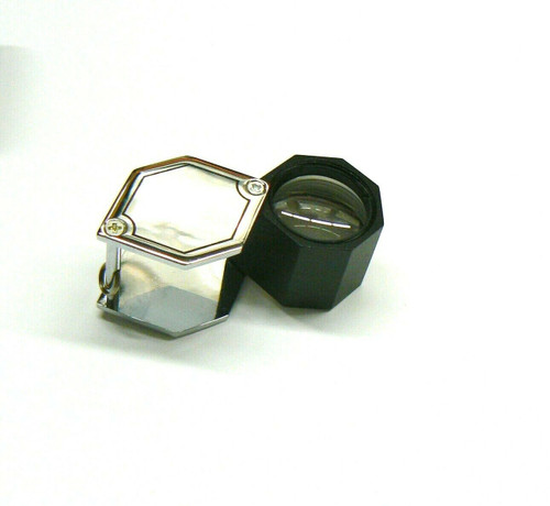 Jewelers Hex Loupe 10X Silver Tone 21mm Triplet Loupe Leather Case