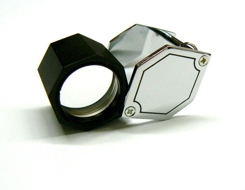 Jewelers Hex Loupe 15x Silver Tone 21mm Triplet Loupe Leather Case