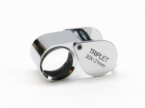 Jewelry Loupe 30X Triplet 21mm Silver Loupe with Leather Case