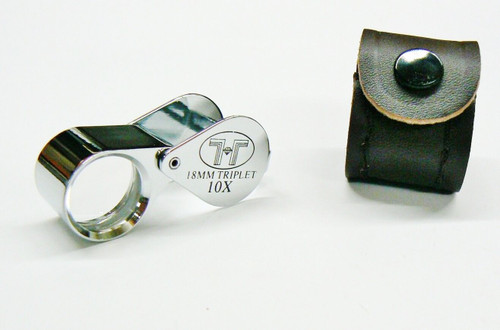 Jewelry Loupes 10X Triplet 18mm Silver Loupe with Leather Case