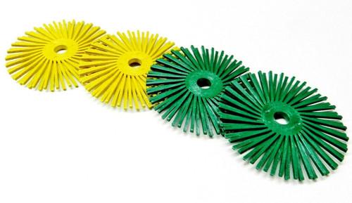 "3M Radial Bristle Discs Scotch-Brite 3"" Green 50 Grit & Yellow 80 Grit 2 of Each"