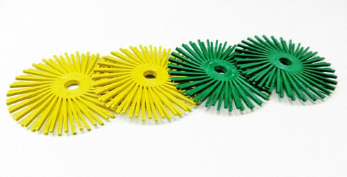 "3M Radial Bristle Discs Scotch-Brite 3"" Green 50 Grit & Yellow 80 Grit 2 of Each"