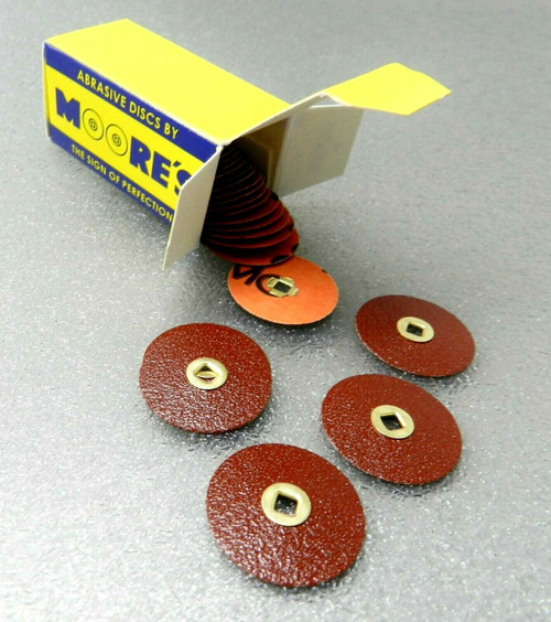 "E.C. Moore's Adalox Fine 7/8"" Sanding Disc Snap On Aluminum Oxide Brass Center"
