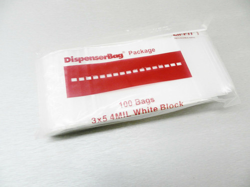 "White Block Ziplock Bags 3"" x 5"" Reloc Reclosable 4 Mil Per Pack of 1000"