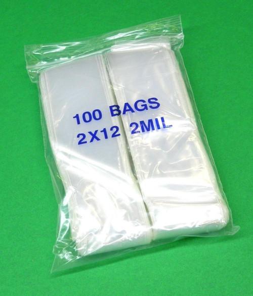"""2 Mil 2"""" x 12"""" Clear Ziplock Bags Pack of 1000"""