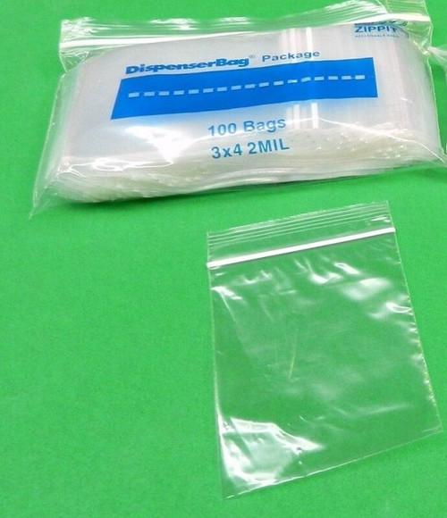 """2 Mil 3"""" x 4"""" Clear Ziplock Bags Pack of 1000"""