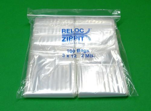 """2 Mil 3"""" x 12"""" Clear Ziplock Bags Pack of 1000"""