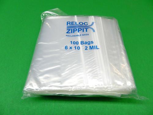 """2 Mil 6"""" x 10"""" Clear Ziplock Bags Pack of 1000"""