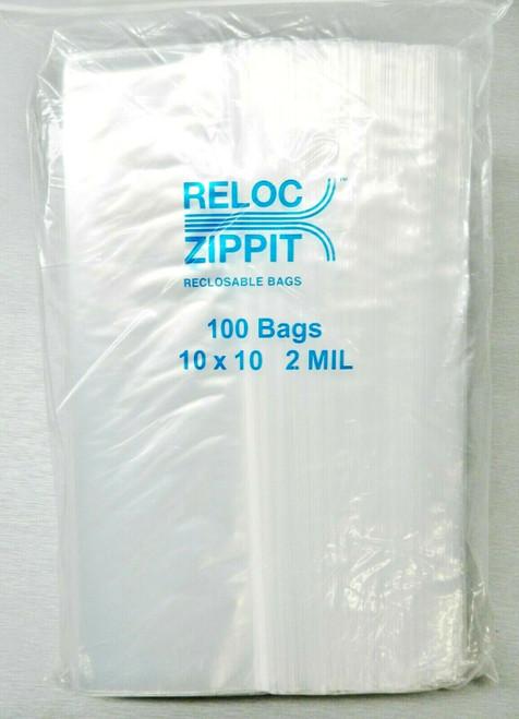 1000 Zippit Reloc Bags 10 x 10 Clear 2 mil LARGE Reclosable Zip Seal Lock