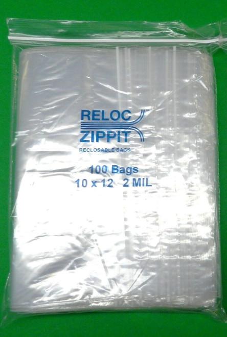 1000 Zippit Reloc Bags 10 x 12 Clear 2 mil LARGE Reclosable Zip Seal Lock