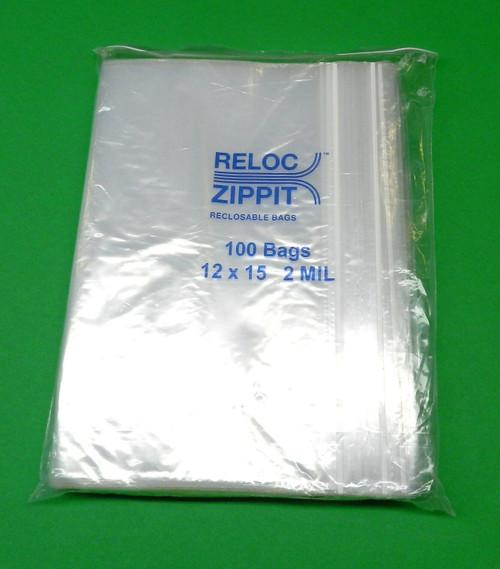 """2 Mil 12"""" x 15"""" Clear Ziplock Bags Pack of 1000"""