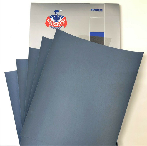 Matador Waterproof Sandpaper Wet or Dry Abrasive Paper 1000 Grit Per Pack of 50 Made in Germany
