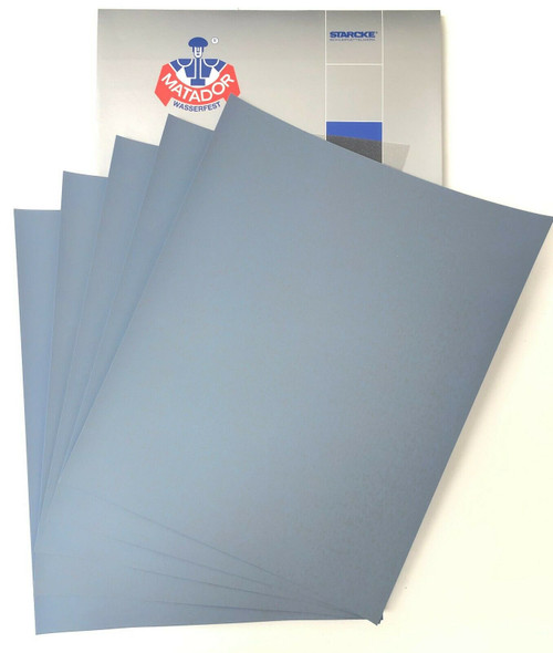 Matador Waterproof Sandpaper Wet or Dry Abrasive Paper 1500 Grit Per Pack of 50 Made in Germany