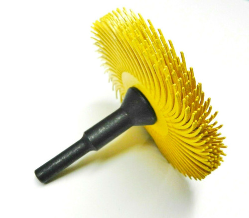 """3m Radial Bristle Disc 3"""" 80 Grit Yellow with 1/4"""" Mandrel 6 Brushes and Arbor Set"""
