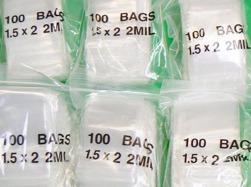"""1000 Zip Top Seal Bags 2mil Clear 1-1/2 """"x 2"""" Small Baggies  Zip Top Slide Bags"""