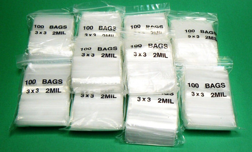 3 x 3 Ziplock Reclosable Zip Lock Clear Plastic Zip Seal 2mil Poly Bags 1000 Pcs