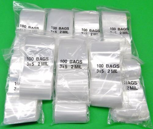 "1000 3x5 Zip Top Seal Bags Reclosable 2 Mil Clear Poly Baggies 3"" x 5"" Zipper Bags"