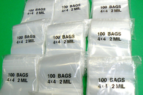 4x4 Ziplock Bags 1000 Clear 2mil reclosable Plastic Poly Baggies 1,000 Pcs 2 Mil