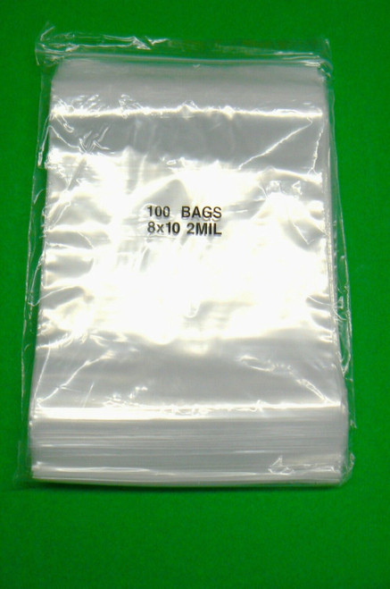 "8"" x 10"" Ziplock Bag 2mil Clear Plastic Zip Seal Reclosable 2 Mil Poly Bags 1000 pcs"