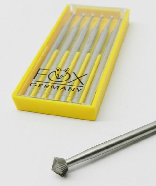 Jewelers Hart Bur 0.8 mm 6 pcs Stone Setting Bur 90° Size 008 FOX 156C Made in Germany
