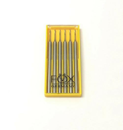 Jewelers Fox Fig 77 Twist Drill Steel Bur Size 0.6mm Made in Germany 6pcs
