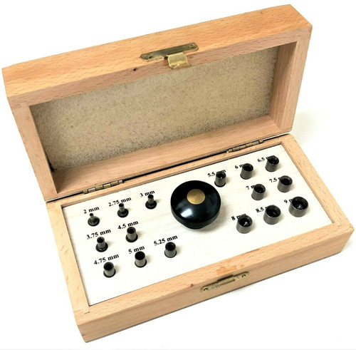 Deluxe Bezel Setting Tool Set 16 Punch In Wood Box with Handle Sizes 2mm-9mm