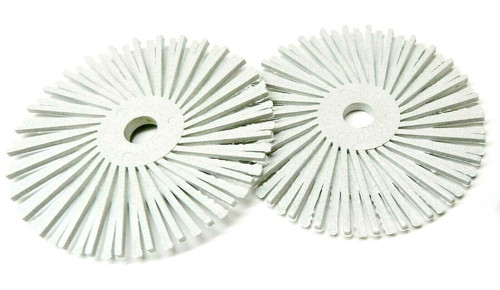"3M Radial Bristle Disc 3"" White 120 Grit with 1/4"" Mandrel 2 Brushes & Arbor Set"