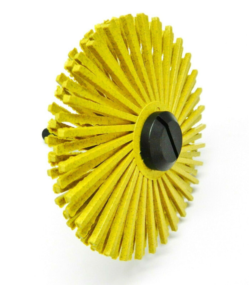 "3M Radial Bristle Disc 3"" Yellow 80 Grit with 1/4"" Mandrel 2 Brushes & Arbor Set"