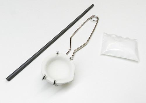 Melt Gold and Silver Torch Melting Kit - Set Crucible Dish Handle Carbon Rod Borax