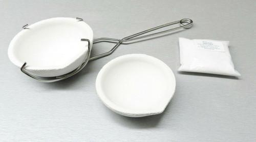 Melting Crucible Dish Set Kit 2 Crucibles Whip Handle and Borax - Melt Gold Silver